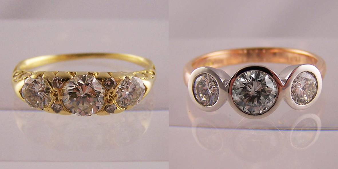 Jewellery remodelled into rubover set rings