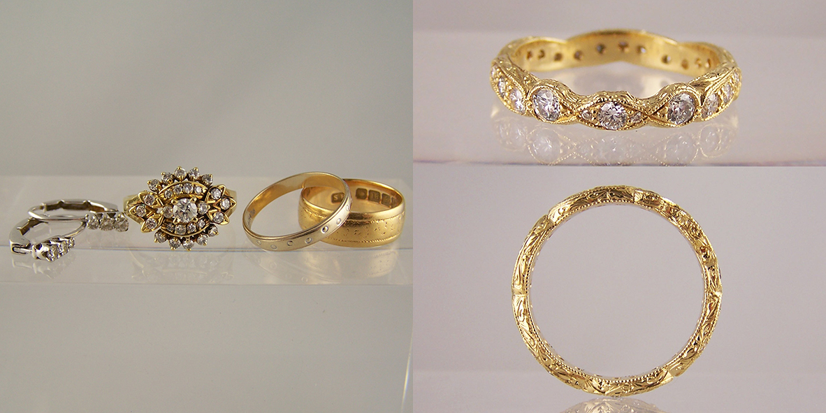 Jewellery remodelled into wedding rings