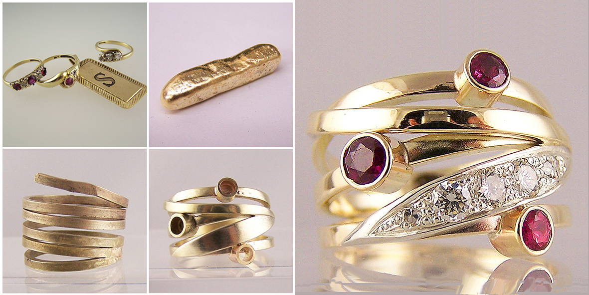 Jewellery remodelled into strand rings