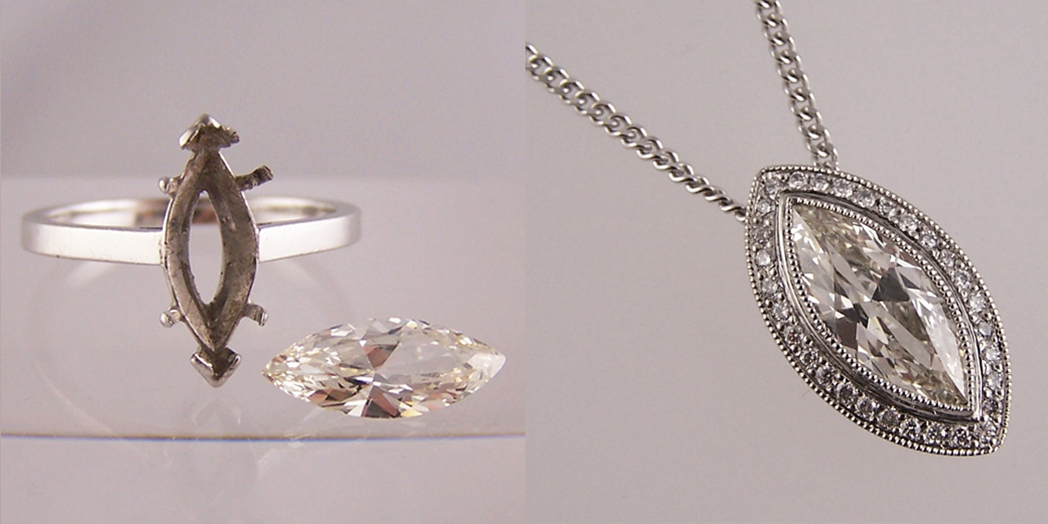 Jewellery remodelled into pendants and other jewellery