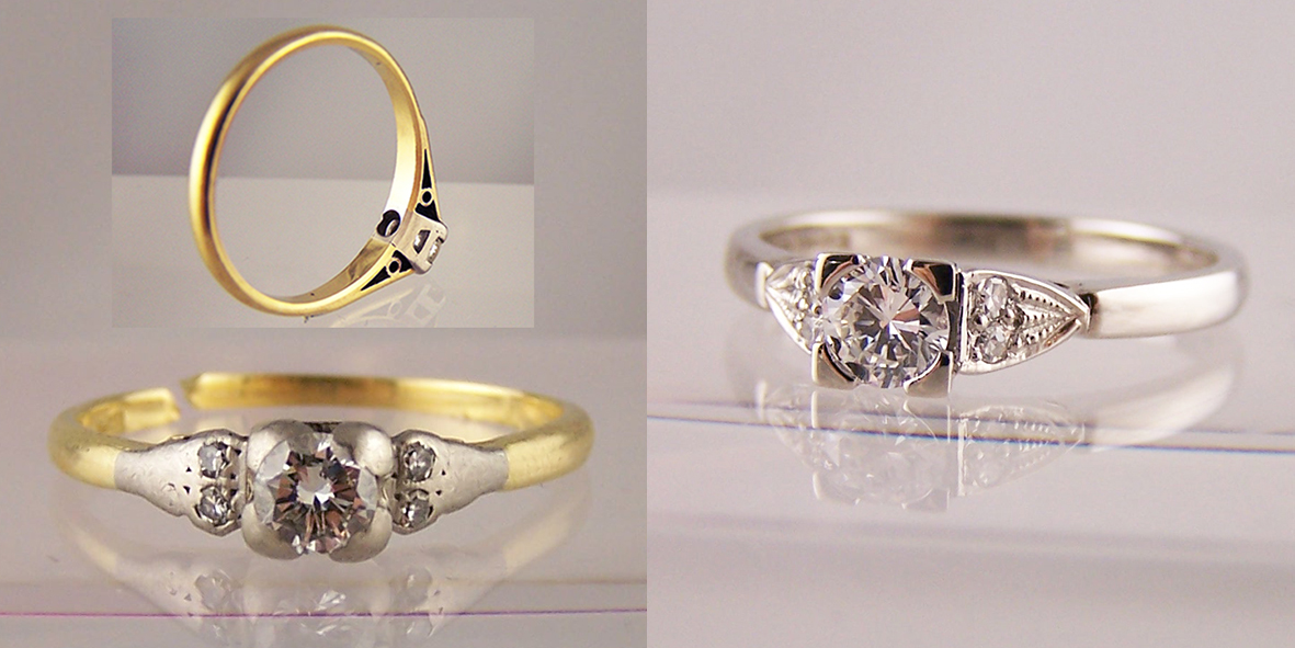 Jewellery reset into engagement rings