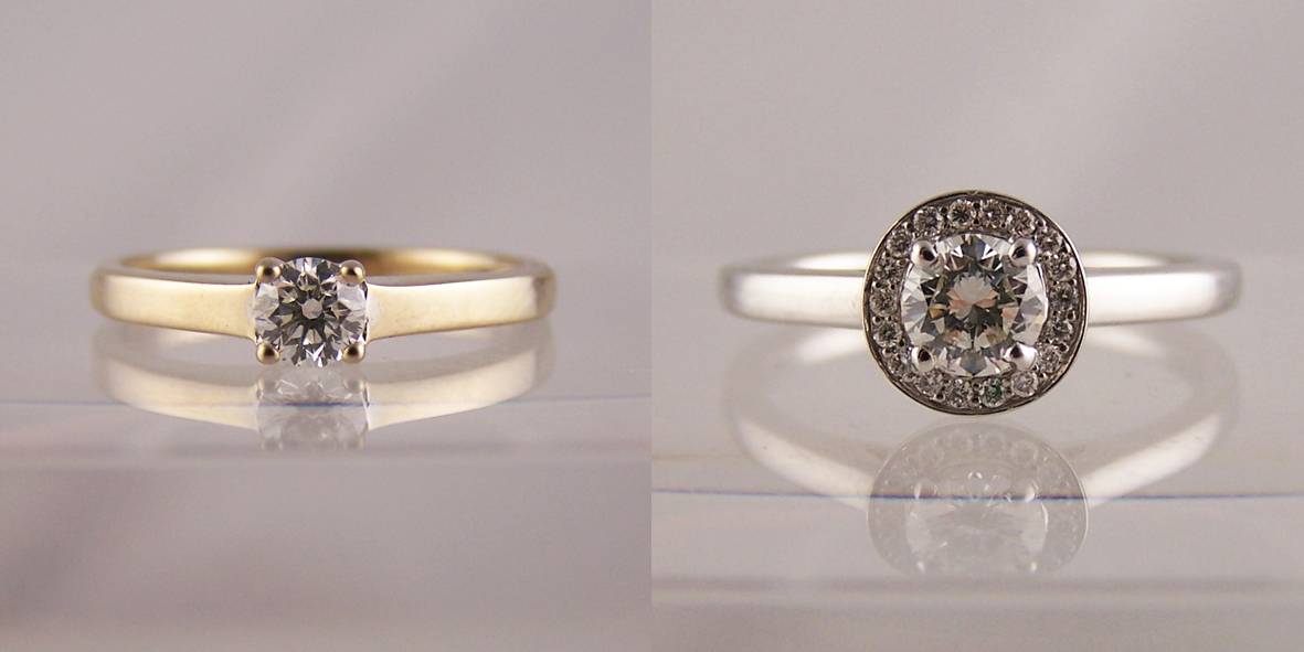 Jewellery remodelled into halo ring designs