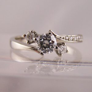 Diamond 3 stone trilogy engagement rings