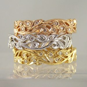 Filigree Diamond Wedding Rings